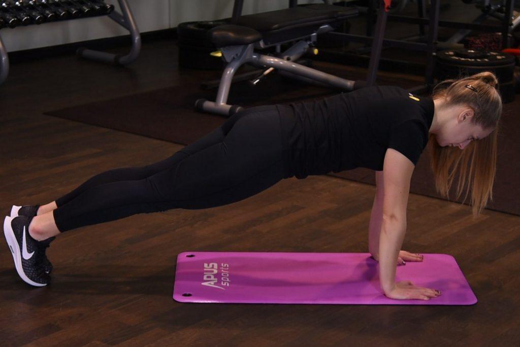 Plank - Izometryczny skurcz mięśni brzucha z wyprostowanymi ramionami