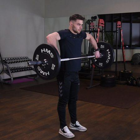 Ćwiczenie Podciąganie sztangi pod klatkę - just be fit